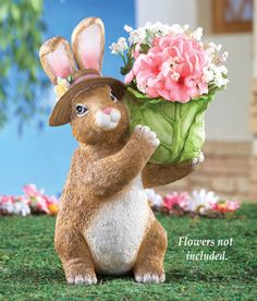Easter Bunny with Cabbage Floral Planter