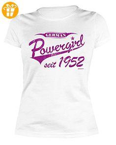 Damen T-Shirt zum Geburtstag: German Powergirl seit 1952 - Tolle Geschenkidee - Baujahr 1952 - Farbe: weiss (*Partner-Link)