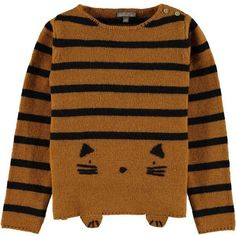 Striped Cat Jumper Brown ($97) ❤ liked on Polyvore featuring tops, sweaters, cat print sweater, cat print top, stripe sweaters, multi stripe sweater and cat top
