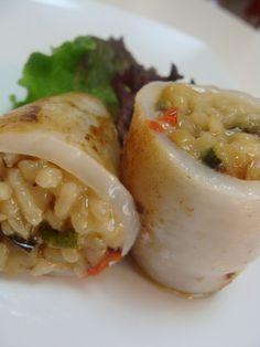 Calamares rellenos de risotto