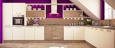 Empson solid cream gloss cabinets are teamed with stylish wood gram of Driftwood, creating a look that has real wow factor. By Wren Kitchens