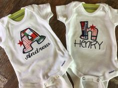 Personalized Name Onesie Custom Plaid Appliqued Letter Embroidered Infant Onesie Preemie Newborn 3 6 9 12 18 24 mo 2-3T 4T T-Shirts Boy Girl by NYLAKELLEYDESIGNS on Etsy