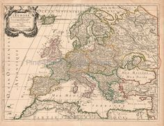 Europe Antique Map Sanson 1683 #map #europe