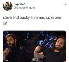 Except Steve should hold the knife Marvel Funny, Marvel Memes, Marvel Avengers, Marvel Comics, Captain America And Bucky, Bucky And Steve, Stucky, Winter Soldier, Marvel Cinematic Universe