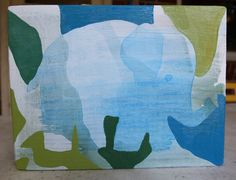 """5.5"""" x 7.5"""" Original Acrylic Painting on Wood - Elephant in Greens and Blues Artwork by Sara Searle - For sale on Etsy"""