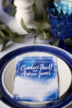 Cobalt blue wedding place setting and menu | Katie Jane Photography | see more on: http://burnettsboards.com/2014/11/brunch-wedding-mimosa-bar-crepe-cake/