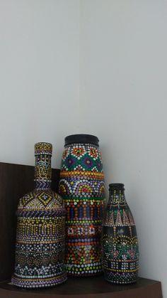 Puntillismo on glass bottles#bottles#art#pointtopoint