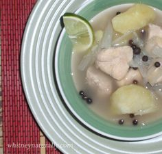 Bahamian Chicken Souse. Yummy. Paired with pigeon peas and rice.