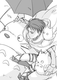 Levi and Totoro // Awwww who expected humanity's best soldier to be a softie :3