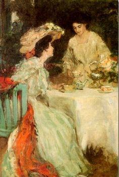 Henry Salem Hubbell ~ Ladies Having Tea ~ (American: 1870-1949)