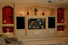 Drywall entertainment center drywall entertainment center basement entertainment center drywall built in centers email phone drywall Basement Entertainment Center, Custom Entertainment Center, Diy Entertainment Center, Media Wall, Drywall, Built Ins, Decoration, Family Room, Entertaining