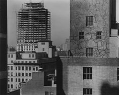 Alfred Stieglitz: From My Window at An American Place, Southwest, 1932   Stieglitz was captivated by the naturally abstract forms of the skyscrapers that populated the modern city, especially when the elevated view omitted the base of the buildings such that their shapes seem to float in space. Here Stieglitz tempered the cool geometry characteristic of such a view by including within the frame the weathered wall of a building whose weblike pattern of cracks reminds us that the natural…