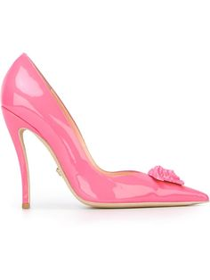 versace pink | Versace Medusa Embellished Leather Pumps in Pink (PINK & PURPLE ...