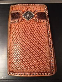 89d1e5d132710 Ariat Western Men s Wallet Basketweave w Concho Rodeo Brown
