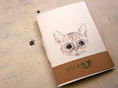 piccolo quaderno con gatto dagli occhi grandi di vumap su DaWanda.com