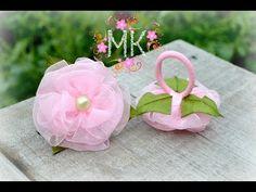 DIY.Organza & Satin Ribbon Flower . Квіти з органзи на резинках .Для ваших принцес!!! - YouTube