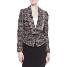 Badgley Mischka Collection Women's Tweed Combo Jacket
