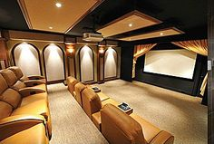 90 Home Theater & Media Room Ideas (Photos) Check out these pictures of min. 90 Home Theater & Media Room Ideas (Photos) Check out these pictures of mind-blowing home thea At Home Movie Theater, Home Theater Rooms, Home Theater Design, Cinema Room, Theater Times, Home Theaters, Media Room Design, Home Theater Projectors, Home Movies