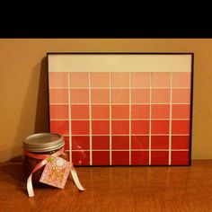 A homemade calendar made from paint samples and a sugar body scrub with a monogramed tag made from cardboard and scrapbook paper I made for my sisters birthday present. Quick, cheap and easy. And cute!