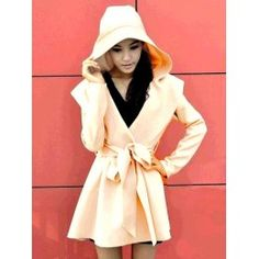 Stylish cream hooded coat with tie belt.   Material: Polyester.  Length: 70cm.  Size: UK 6-10 (one size).