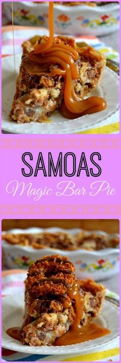 Samoas Magic Bar Pie - a thick and gooey Samoas cookie-inspired pie filled with gooey caramel, rich chocolate, crunchy cookies and sweet toasted coconut. #samoas #cookies #pie #girlscouts