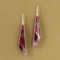 Dichroic Glass Red Angle Dangle Earrings - Fire & Ice