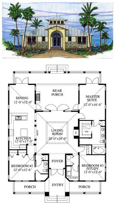 Florida Cracker Style COOL House Plan ID: chp-39721: Total living area: 1867 sq ft, 3 bedrooms & 2 bathrooms. #floridacracker #houseplan