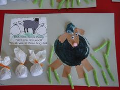 Ba Ba Black Sheep (fairy tale/nursery rhyme month) stamped with a scrubby then glue on head, ears, feet and bags of wool.  3 to be precise.