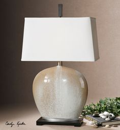 Exceptionnel Uttermost Baycliff Lamp. Beige Ceramic Accented With An Ivory Frosting And  Silver Leaf Details.