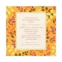 Bridal Shower Invitation | Fall Leafy Border by Plush_Paper