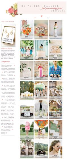 Vendor Guide for Wedding Creatives + Event Professionals! Get listed + expand your reach in 2015! Listing includes an invite to pin with us! http://www.theperfectpaletteproguide.com/