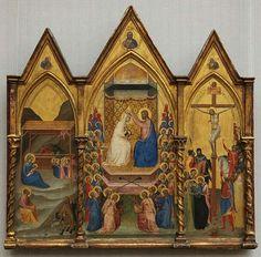 ernardo Daddi(1290-1350)L'Incoronazione della Vergine        pannello centrale:L'Incoronazione della Vergine   pannello di sinistra:Natività pannello di destra:Crocifissione  Datatra il 1338 e il 1340mediooliosu legno di Pioppo pannello centrale: Altezza: 42,2 cm (16,6 pollici).Larghezza: 21,5 cm (8,5 pollici).Pannelli sinistro e destro: 37,5 × 15 cm (14,8 x 5,9 in)Posizione attuale  Gemäldegalerie