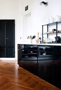 black glossy cabinets