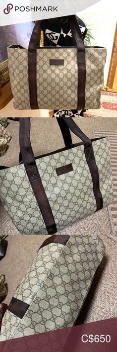 Gucci tote bag , ordering from Japan vintage shop No rubs,  signs of minimal use. Great condition. No rips or stain, just minor discolouration on the strap but not noticeable.  With dust bag   More details in January once I got the item Please comment if interested  Price is firm Gucci Bags Totes