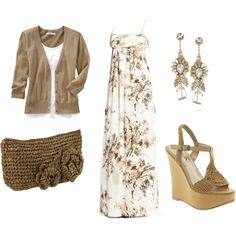 ooo....<3 this....neutrals. flowy comfy delicate dress, check. wedges, check. dangles, check. clutch, check. perfect.