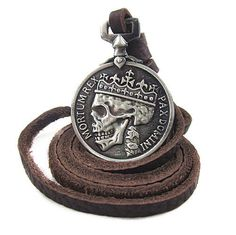 Adjustable leather necklace men necklace metal necklace made of brown leather and alloy on Etsy, $8.50