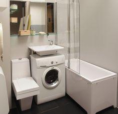 tiny bathroom Creative small bathroom decor ideas: Bathroom sink over washing machine - Little Piece Of Me Small Laundry Rooms, Small Bathroom Storage, Bathroom Design Small, Bathroom Interior Design, Bathroom Ideas, Bath Design, Bathroom Layout, Bathroom Shelves, Bathroom Organization