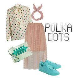 """""""Polka dots"""" by shinjuhorie on Polyvore featuring Yves Saint Laurent, River Island, adidas Originals and Anya Hindmarch"""