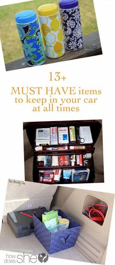 13+ MUST HAVE items to keep in your car at all times #carcampingorganizationideas