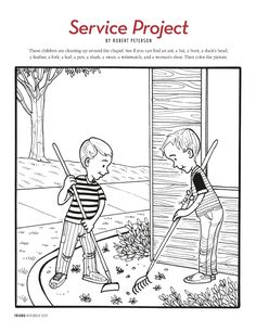 primary coloring page from lds org a little boy comforts a little rh pinterest com LDS General Conference Clip Art LDS Printables