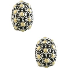 John Hardy Jaisalmer 18K Gold & Sterling Silver Buddha Belly Earrings ($343) ❤ liked on Polyvore featuring jewelry, earrings, silver, 18 karat gold earrings, gold disc earrings, gold bead earrings, sterling silver clip on earrings and clip on earrings