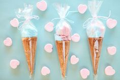 "cotton candy in an ice cream cone and put in pastry bag. ""here's the scoop--be my valentine! Birthday Treats, Party Treats, Party Favors, Birthday Parties, Ice Cream Theme, Ice Cream Candy, Valentine Treats, Valentines Day Party, Cotton Candy Cone"