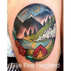 Beautiful traditional camping scene tattoo, Silje Roe Hagland