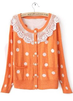 Orange Long Sleeve Lace Lapel Pockets Cardigan Sweater