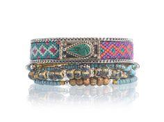 Bohemian bracelet multistrand set - ethnic bracelet - tibetan silver