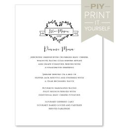 PIY Menu Cards - PIY Wedding Menu Cards - PIY (Print It Yourself) Wedding Programs