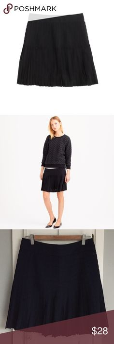 """J. Crew Pleated Lattice Skirt Pleated, flouncy and flirty—just as a skirt should be. Even more to love: the pleats are permanently pressed so you don't have to deal with the iron every time you wear it. Poly, back zip, lined, and machine washable. Sits above the hip and falls above the knee. 18"""" long. Comes in excellent condition from a pet-free, smoke-free home. J. Crew Skirts"""