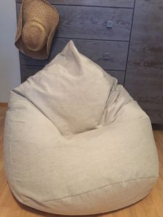 Natural linen bean bag chair cover. Inspired by nature. https://www.etsy.com/shop/CloudMakers