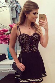 Black Sweetheart Spaghetti Homecoming Dress,Hollow Short Prom Dress