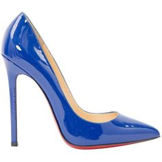Pre-owned Christian Louboutin Patent Leather Heels ($398) ❤ liked on Polyvore featuring shoes, pumps, blue, women shoes heels, pointed-toe pumps, christian louboutin pumps, blue stilettos, blue patent pumps and stiletto shoes